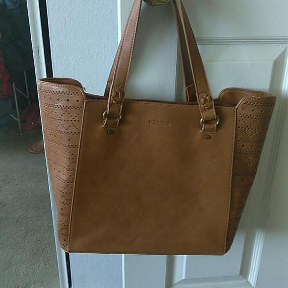 Pull Bear Bags   Pull And Bear Tan Handbag Like New Cut Out Print ... e940f1844db